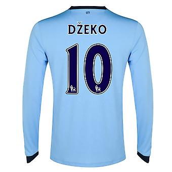 2014-15 Man City Long Sleeve Home Shirt (Dzeko 10)
