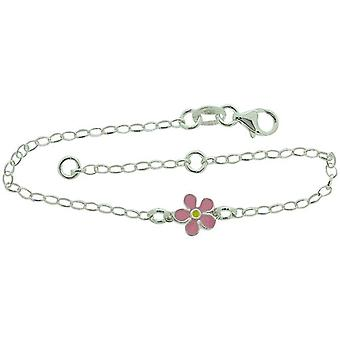 TOC Girls Sterling Silver Pink Flower Charm Bracelet 6