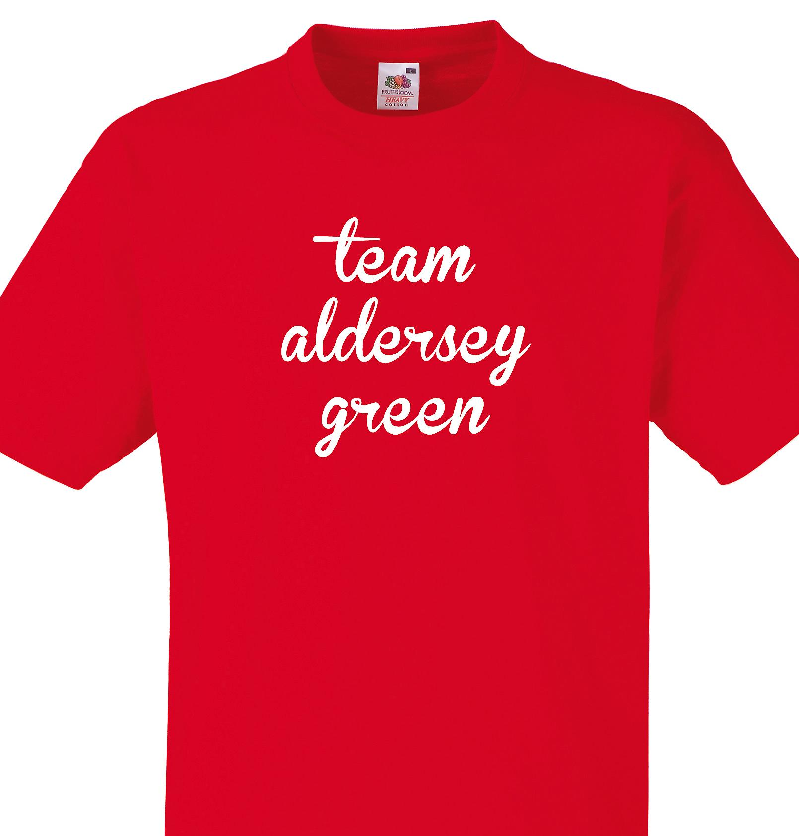 Team Aldersey green Red T shirt