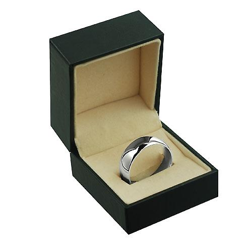 9ct White Gold 8mm plain Court shaped Wedding Ring Size X