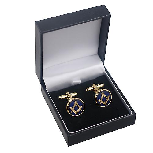 Hard Gold Plated 17mm round cold cure enamel Masonic swivel Cufflinks