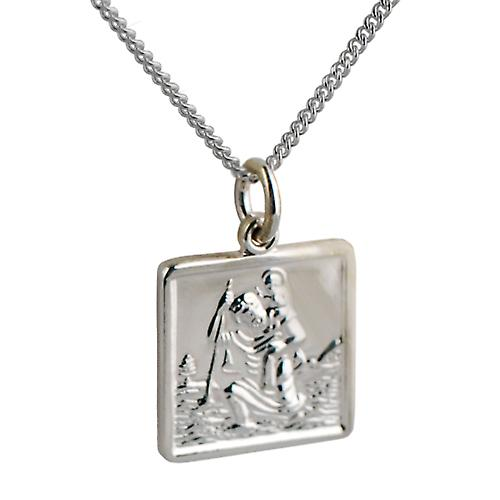Silver 17x17mm square St Christopher Pendant with a curb Chain 24 inches