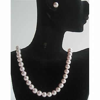 Rose Pink Pearls Handcrafted Swarovski Necklace Stud Pearls Earrings