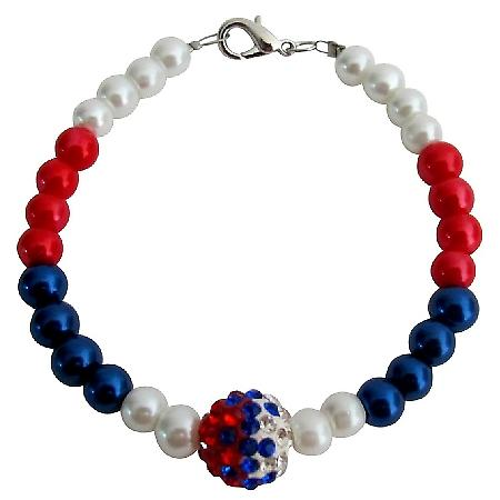 Red White Blue Pearls USA Beaded Bracelet with Cute Pave Ball
