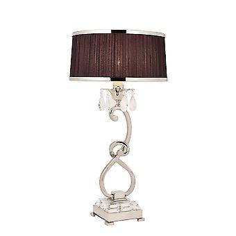 Oksana Nickel Medium bordslampa med svart skugga - interiör 1900 70822