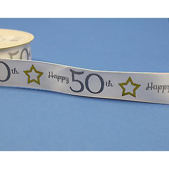 25mm White Happy 50th Birthday Printed Ribbon - 20m | Ribbons & Bows for Crafts