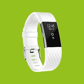 For Fitbit satsvise 2 plast / silikon armbånd for menn / størrelse L hvit ur