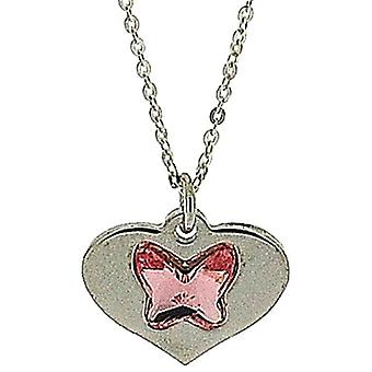 TOC Sterling Silver Pink Crystal Butterfly Heart Pendant Necklace 18