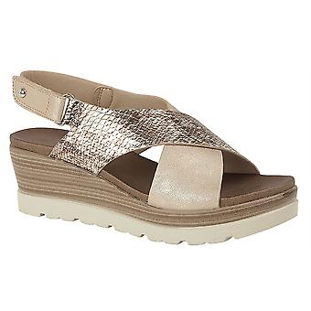 Ladies Womens Sandals Touch Fastening Crossover High Wedge Slip On Shoes