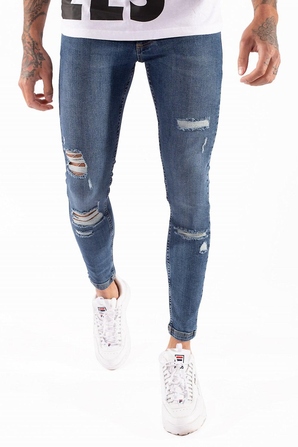 11 Degrees Distressed Jeans Skinny Fit - Mid bleu Wash