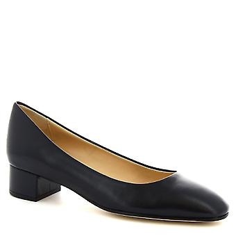 Leonardo Shoes Women's handmade low heels pumps shoes in blue calf leather