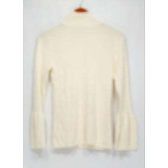 Joan Rivers Classics Collection Sweater Turtleneck w/ Tulip Slv Ivory A300366