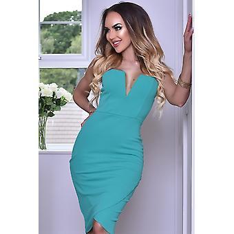 Plunge Midi Wrap Front Dress