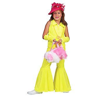 Neon Yellow 70s Pants Suit Kids Costume Girls Jumpsuit Carnival Costume Kids Striking Pants Carnival