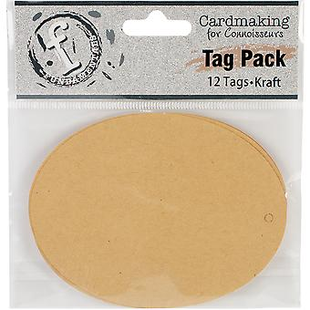 Fundamentals Tags 12/Pkg-Large Oval/Kraft FNT29