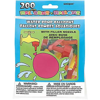 Water Bomb Balloons With Nozzle 200 Pkg Multicolor 5203