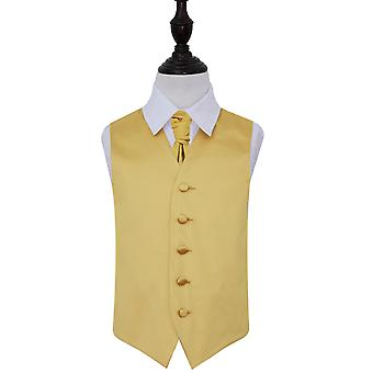 Boy's Gold Plain Satin Wedding Waistcoat & Cravat Set