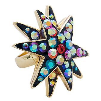 Butler & Wilson Crystal Star Ring Multi storlek P