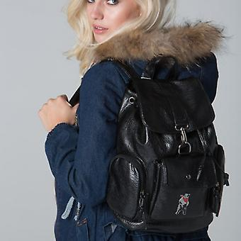 POLAR WHITES BLACK PLAIN FLAP BACKPACK o : o