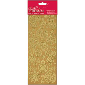 Papermania maken Outline Stickers-Gold kerstballen & engelen PM810923