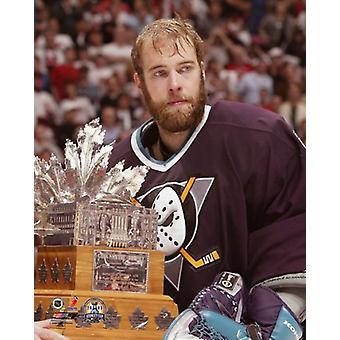 Jean-Sebastien Giguere holds the  2003 Conn Smythe Trophy Photo Print