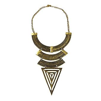 Gold-coloured bohemian warrior statement necklace