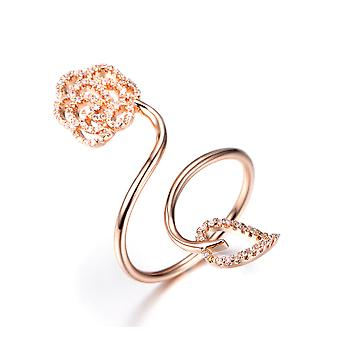 18K Rose Gold Plated Flower And Leaf Ring