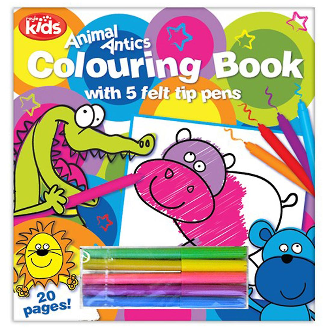 Kids Colouring Book 20 Page with Pack of 5 Felt Tip Pens Fun Travel Entertaining