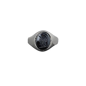 Silver 12x10mm oval Haematite Roman Centurion Soldier Signet Ring Size Y