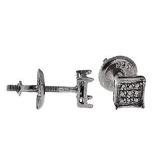 925 Silber Diamant Ohrstecker - SQUARE PRONG 0.05ct schwarz