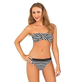 Boutique Ladies Monochrome Bandeau Twisted Stripped Bikini Set