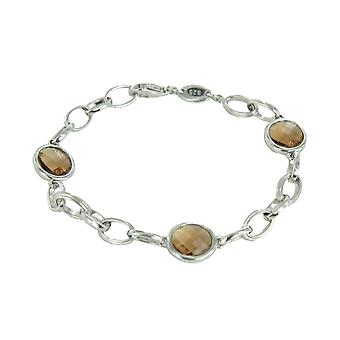 Fossil ladies silver bracelet faceted glass stones JFS00026040
