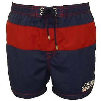 Jockey Block Stripe Swim Shorts, Navy/Red