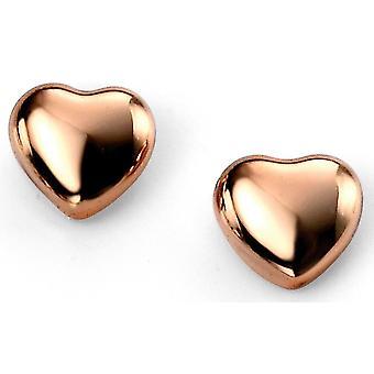 925 Silber Rotgold plattiert Herz Trend Ohrring