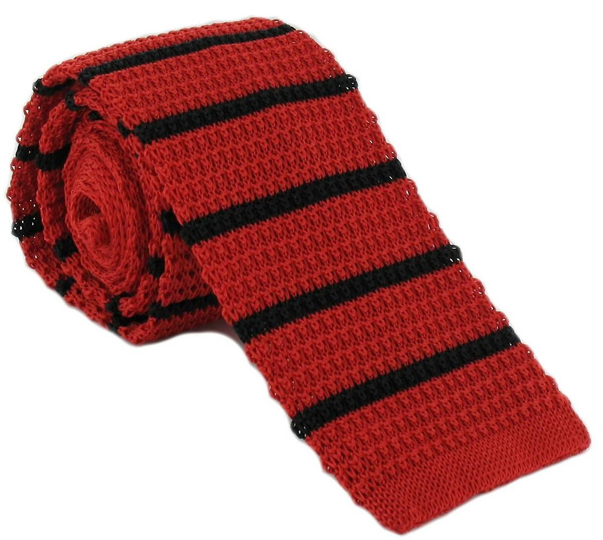 Michelsons of London Silk Knitted Striped Skinny Tie - Red/Black