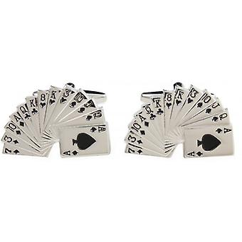 David Van Hagen Fan of Card Cufflinks - Silver/Black