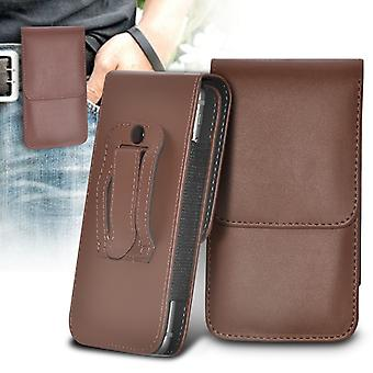 Pagdene R7 Vertical Faux Leather Belt Holster Pouch Cover Case (Brown)