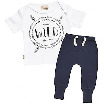 Spoilt Rotten Wild Print Baby T-Shirt & Navy Joggers Outfit Set