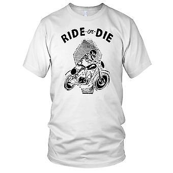 Ride Or Die Biker Skull Ladies T Shirt