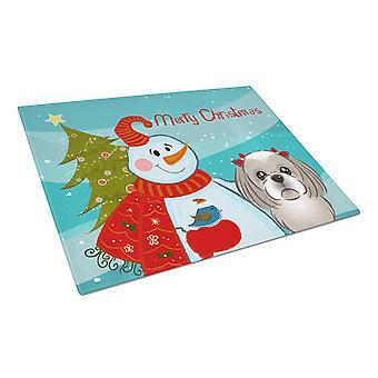 Snowman with Gray Silver Shih Tzu Glass Cutting Board Large