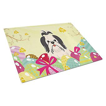 Easter Eggs Shih Tzu Black White Glass Cutting Board Large