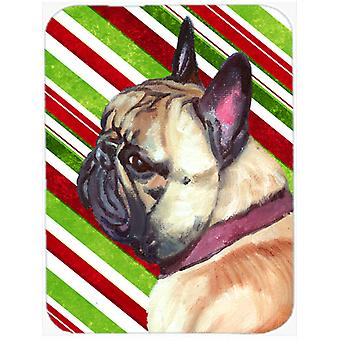 French Bulldog Frenchie Candy Cane Holiday Christmas Glass Cutting Board Large