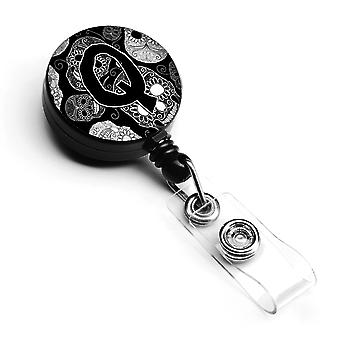 Letter Q Day of the Dead Skulls Black Retractable Badge Reel
