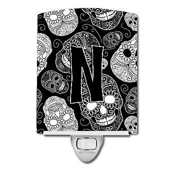 Letter N Day of the Dead Skulls Black Ceramic Night Light