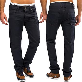 Men's coated denim Blau jeans trousers pants shiny Chino straight leg