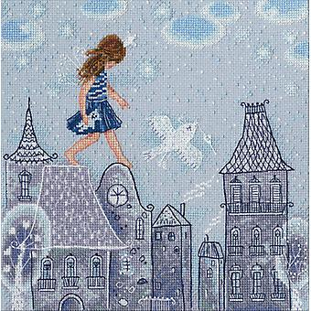 Fairy Tales Live On Roofs Counted Cross Stitch Kit-9.5