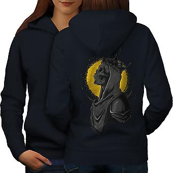Queen Night Moon Skull Women NavyHoodie Back | Wellcoda