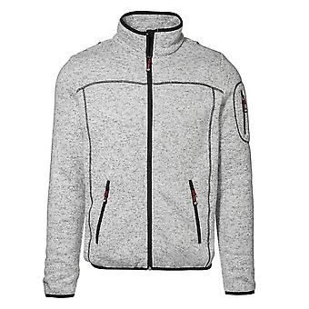 ID Mens Full Zip Regular Fitting Melange Knit Fleece Jacket