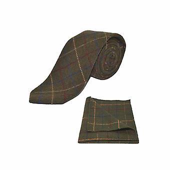 Heritage Check Regency Green Men's Tie & Pocket Square Set