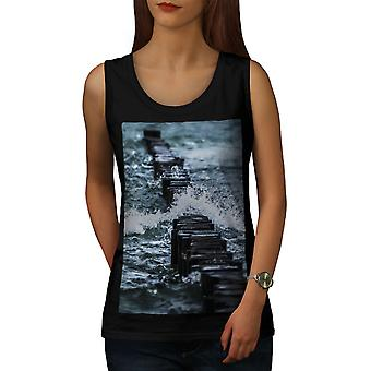 Ocean Water Photo Women BlackTank Top | Wellcoda